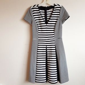 BR Black & White Striped Fit and Flare Dress NWOT